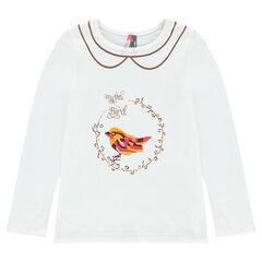 Tee-shirt print fantaisie et effet faux col