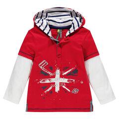 Tee-shirt manches longues capuche effet 2 en 1 print drapeau et patchs cousus