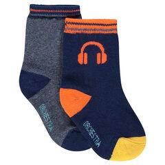 Lot de 2 paires de chaussettes assorties unies/motif casque