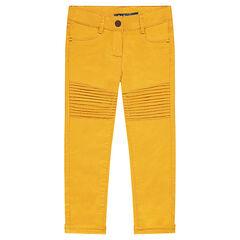 Pantalon skinny uni avec jeu de plis