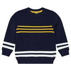 Junior - Pull en tricot ottoman avec bandes contrastées