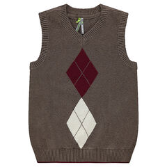 Pull sans manches en tricot motif jacquard