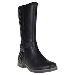 Bottes noires avec zip et strass