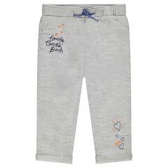 Pantalon en coton armuré brodé