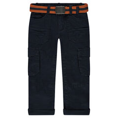 Pantalon cargo doublé jersey avec ceinture amovible