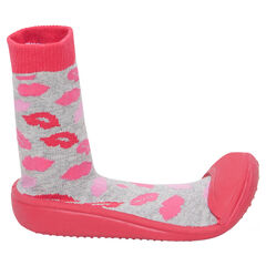 Chaussons chaussettes imprimés bouches et semelle en gomme