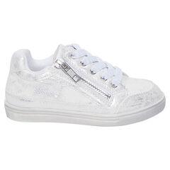 Baskets basses blanches et argentées à lacet et zip