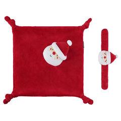 Doudou en velours avec hochet velours Père Noel