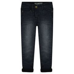 Jeans effet used et crinkle doublé micropolaire