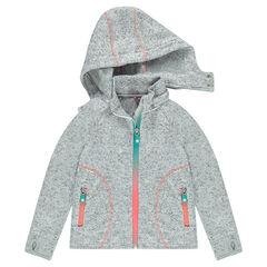 Gilet zippé effet tricot doublé micropolaire à capuche amovible