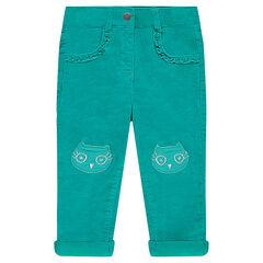 Pantalon droit en velours avec patchs et volants fantaisie