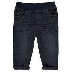 Jeans effet used taille élastiquée