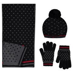 Ensemble béret, écharpes et gants en tricot à pois