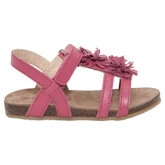 Nu-pieds en cuir coloris fushia avec fleurs fantaisie