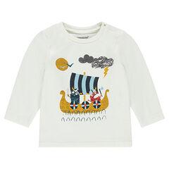 Tee-shirt manches longues avec bateau et vikings printés