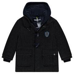 Duffle coat en drap de laine à chevrons avec capuche molleton