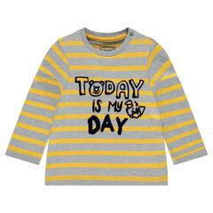 Tee-shirt manches longues rayé avec message printé