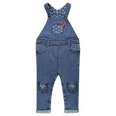 Salopette longue en jeans avec patchs et noeud fantaisie