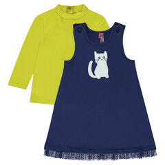 Ensemble robe en molleton avec chat printé et sous pull