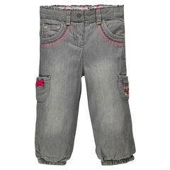 Jeans en chambray gris doublé jersey avec poches et broderies fantaisie