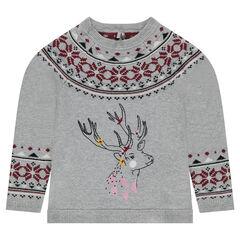 Pull en tricot motif jacquard avec cerf brodé