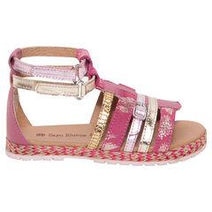Nu-pieds en cuir coloris rose et or