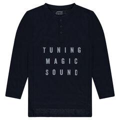 Junior - Tee-shirt long en jersey fantaisie avec texte en relief