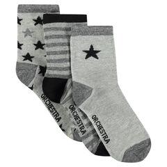 Lot de 3 paires de chaussettes assories à étoiles et rayures