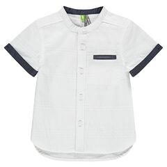 Chemise manches courtes en coton armuré avec détails chambray