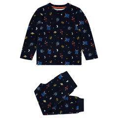 Pyjama en velours motif extra-terrestres