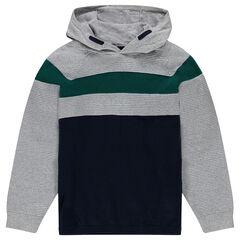 Junior - Pull à capuche en tricot fantaisie