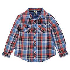 Chemise manches longues à carreaux avec poches