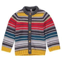 Gilet en tricot à rayures contrastées