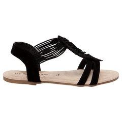 Nu-pieds noirs à élastiques avec patch feuille