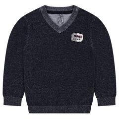 Junior - Pull en tricot avec badge patché