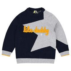 Pull en tricot avec étoile en jacquard et inscription en bouclette