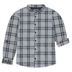 Chemise manches longues à carreaux avec col mao