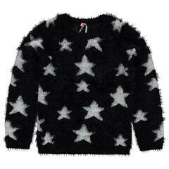 Junior - Pull en tricot effet poils imprimé étoiles