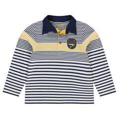 Polo manches longues en jersey avec badge patché