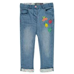 Jeans slim avec badges fruits
