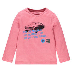 Tee-shirt manches longues avec voiture et inscriptions printées devant