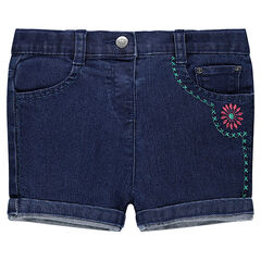 Short en jeans avec broderie