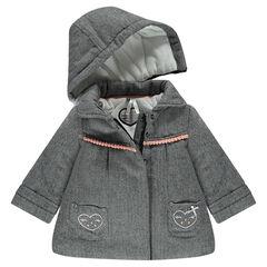 Manteau à chevrons effets tweed doublé sherpa