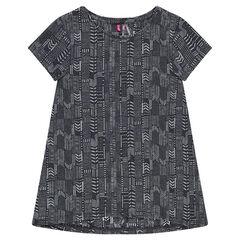 Junior - Tee-shirt long manches courtes imprimé ethnique