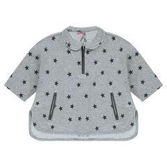 Sweat en molleton forme cape imprimé étoiles
