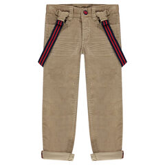 Pantalon en velours à bretelles rayées amovibles