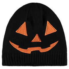 Bonnet en tricot Halloween motif brodé citrouille
