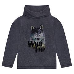 Tee-shirt manches longues avec loup printé