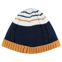 Bonnet en tricot à rayures contrastées