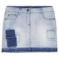 Junior - Jupe courte en jeans avec patchs fantaisie